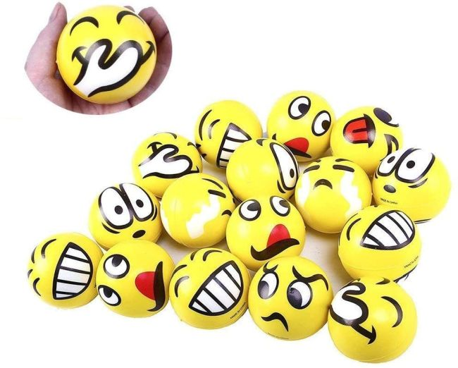 Selection of stress balls with emoji faces (Fidget Toys)