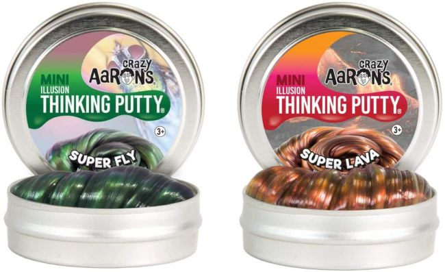 Two tins of shiny iridescent Thinking Putty