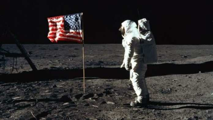 Photo of first moon landing