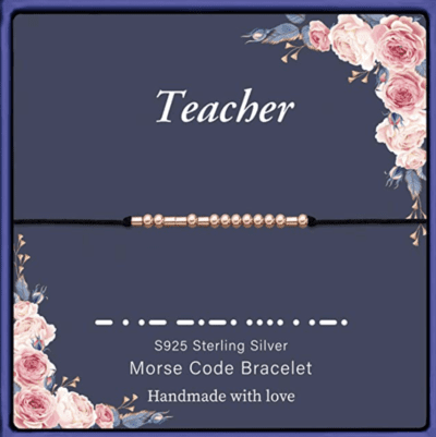 Black morse code teacher bracelet with gold beads
