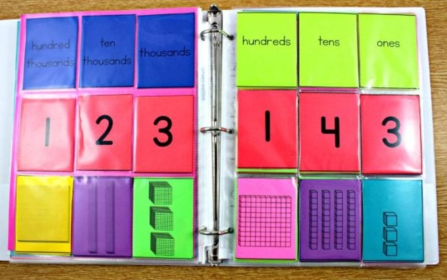Clear pocket pages in a binder with place value headings and numbers