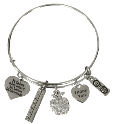 Silver teacher bracelet with apple, heart, and ruler charms