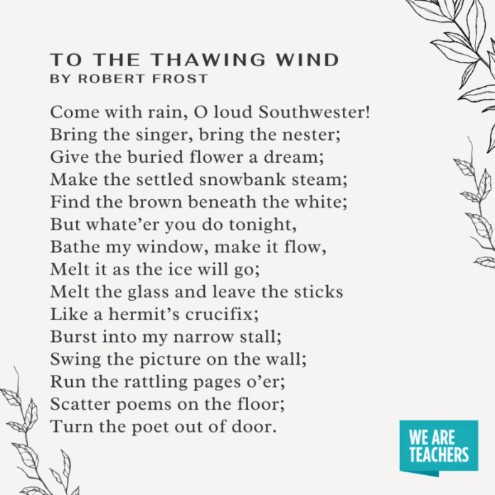 To the Thawing Wind by Robert Frost -- Spring Poems for Kids