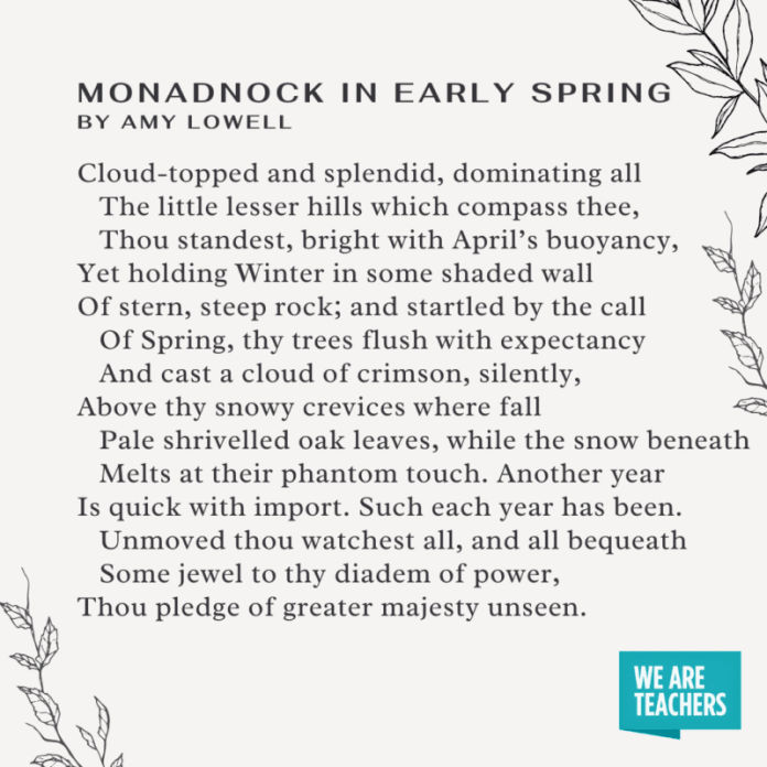 Monadnock in Early Spring by Amy Lowell