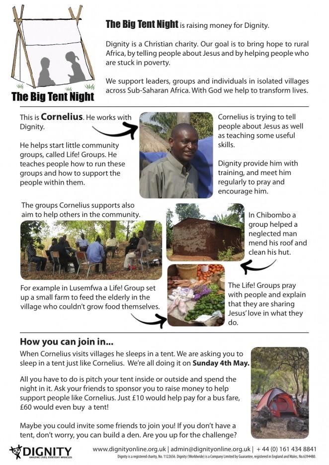 Big Tent Night Information Sheet