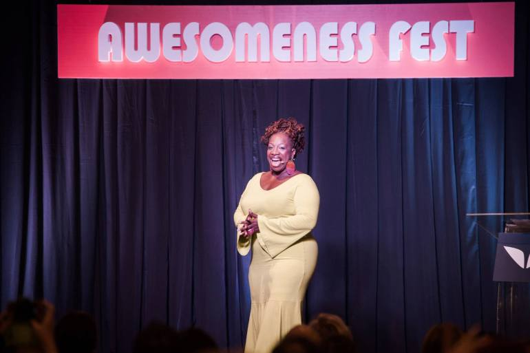 Lisa Nichols speaking at First Awesomeness Fest East