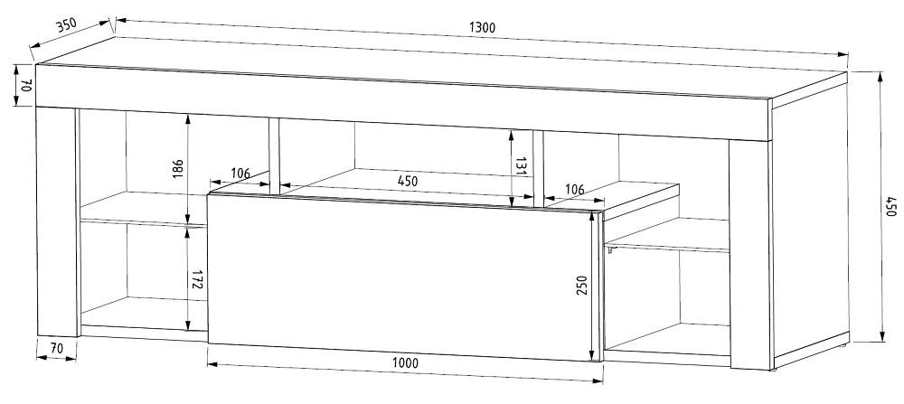 Black Matt & Black High Gloss Modern TV Unit 130cm Cabinet