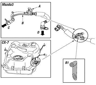 Mazda Pressure Breather Hose Frozen, DTC P0451