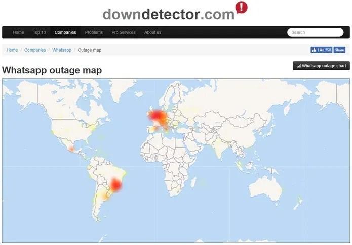 Mapa do site Down Detector mostra relatos de falhas no WhatsApp