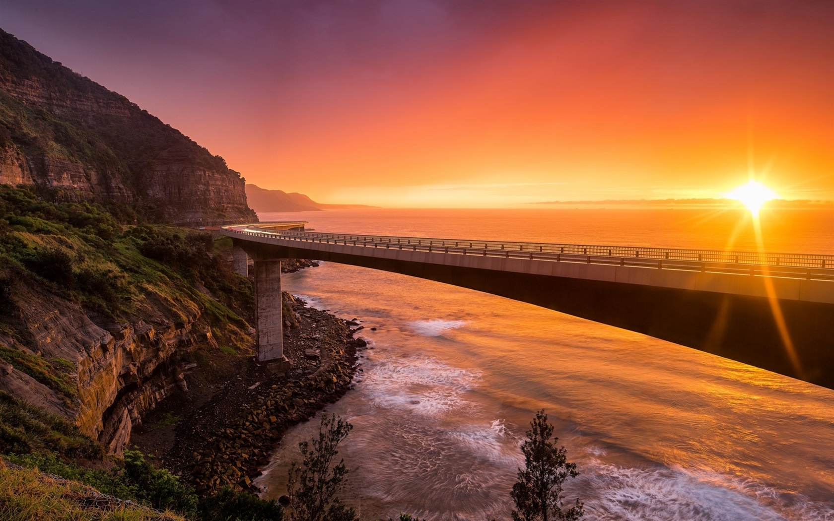 England Wallpaper Iphone 5 Sea Cliff Bridge Nsw Australien Sonnenuntergang Berge