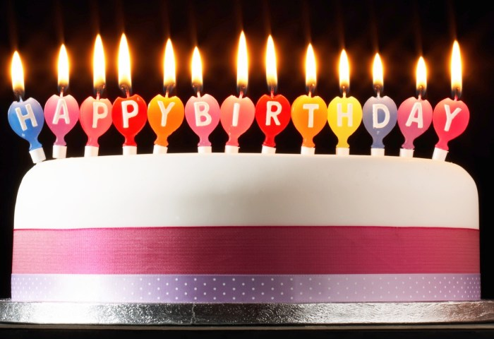 Wallpaper Happy Birthday Cake Candles Fire Simple Style 1920x1080