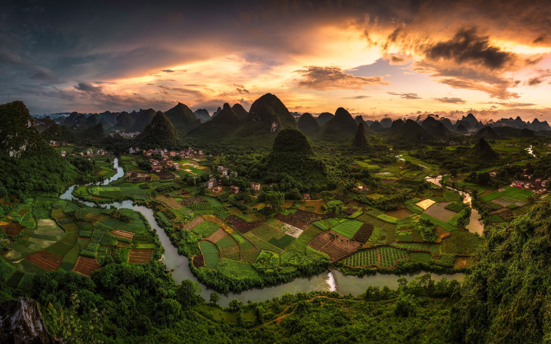 Top  Wallpapers Wallpaper Beautiful Chinese Village Mountains Green