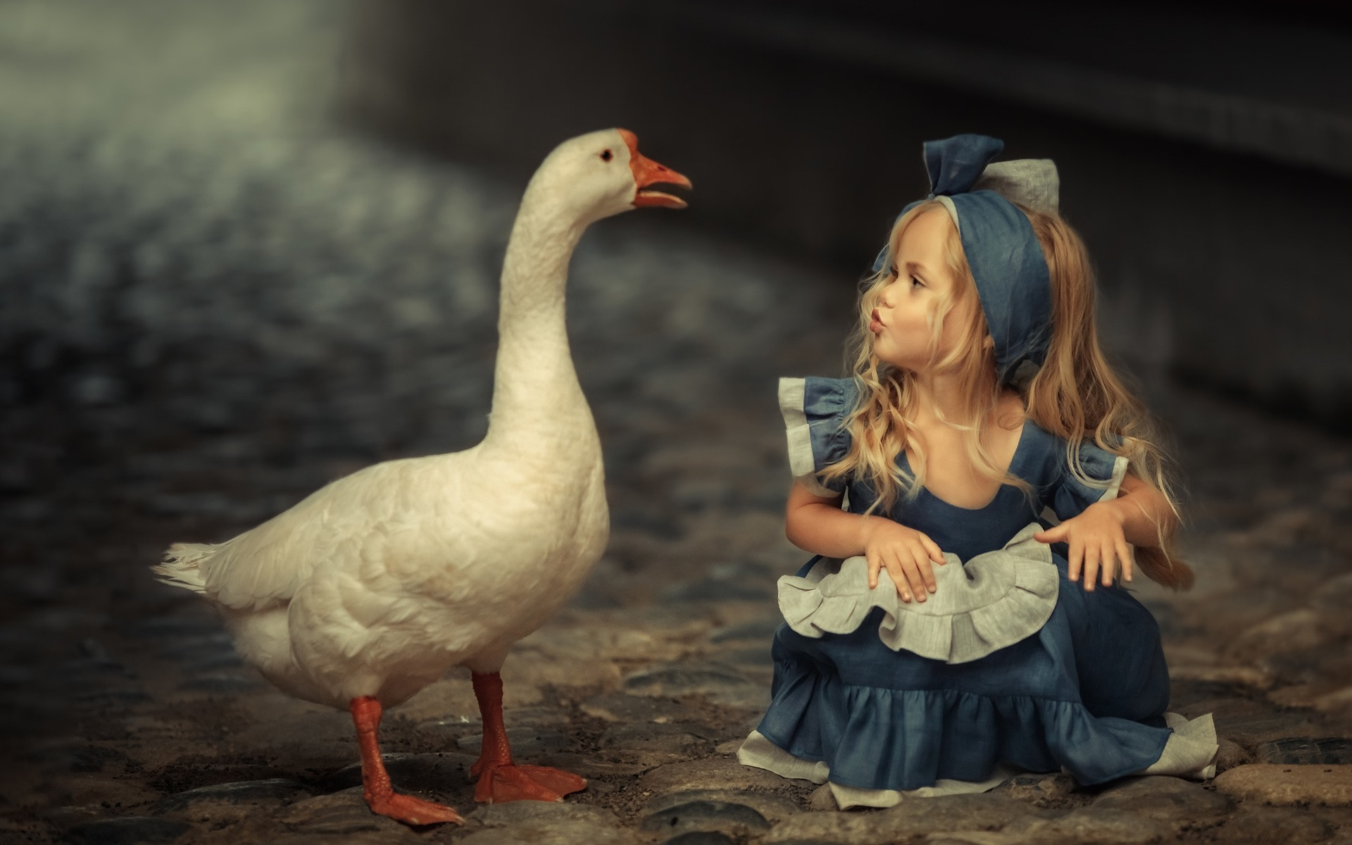 Cute Baby Boy Wallpapers Download Wallpaper Cute Blonde Little Girl And Goose 1920x1200 Hd
