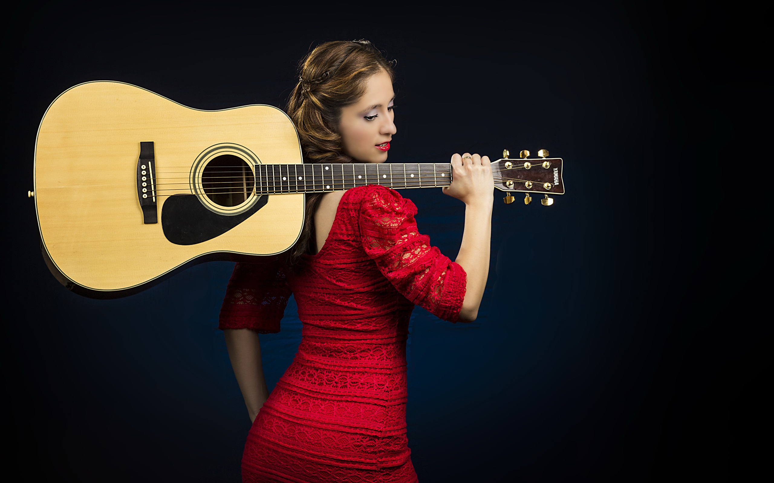 Beautiful Iphone 5s Wallpapers Wallpaper Red Dress Girl Guitar 3840x2160 Uhd 4k Picture