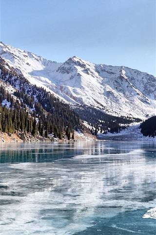 Snow Wallpaper Iphone 5 Wallpaper Almaty Winter Lake 1920x1080 Full Hd 2k Picture
