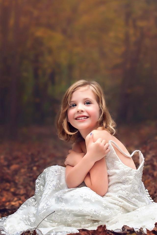 Cute Girl Wallpaper For Iphone 6 Wallpaper Wedding Dress Little Girl Forest Autumn