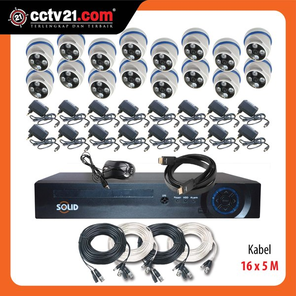 PROMO PAKET SOLID ASLI  2.0MP  CCTV 16 Ch  AHD & DVR Full HD 1080P 5 in 1