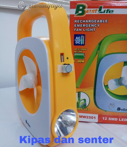 senter emergency lamp dan kipas angin bestlife