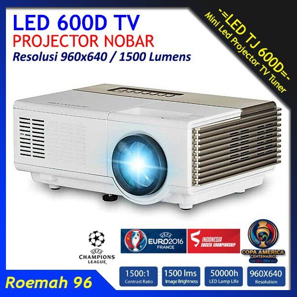 Mini LED 600D Projector Infocus 1500 Lumens TV Proyektor Infokus Nobar Bola VS UC46 Cheerlux C6