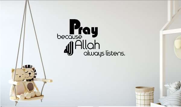 Wall Sticker Pray Allah Muslim Cutting Stiker Dinding Kaca Home Decor Hiasan Rumah Kantor Restoran