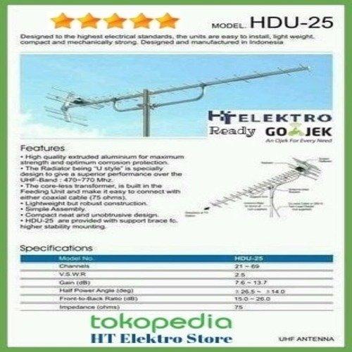 TERLARIS Paket Antena TV Digital Yagi HD U 25 1 Tiang Kabel 10m Konektor