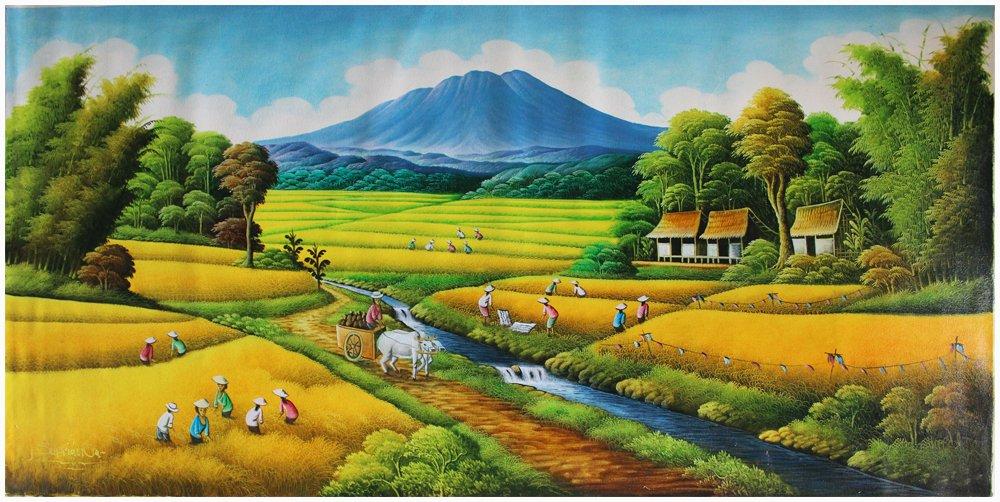 32+ Lukisan Pemandangan Sawah Padi Yang Mudah Ditiru ...
