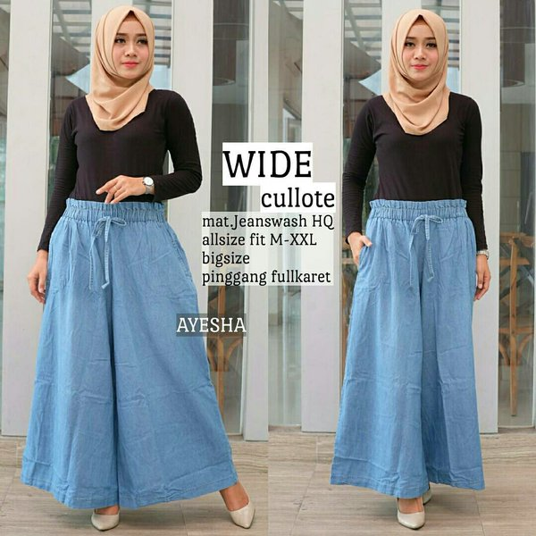 Wide cullote Celana kulot jeans