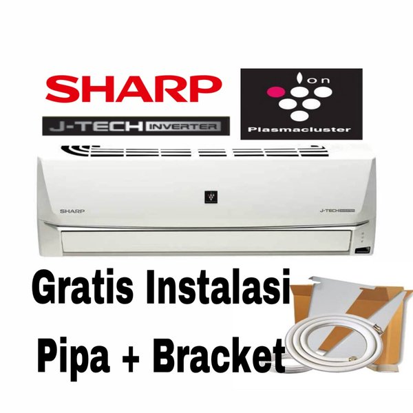 AC SHARP 0.5Pk AH-XP6SHY Plasma Inverter Frer pemasangan-Pipa 5Mtr dan Bracket