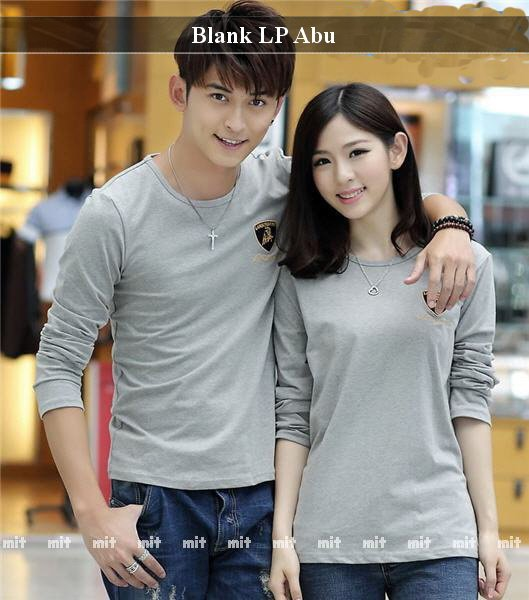 Lengan Panjang Couple Trendy | Fashion Couple Unik | Blank LP Abu