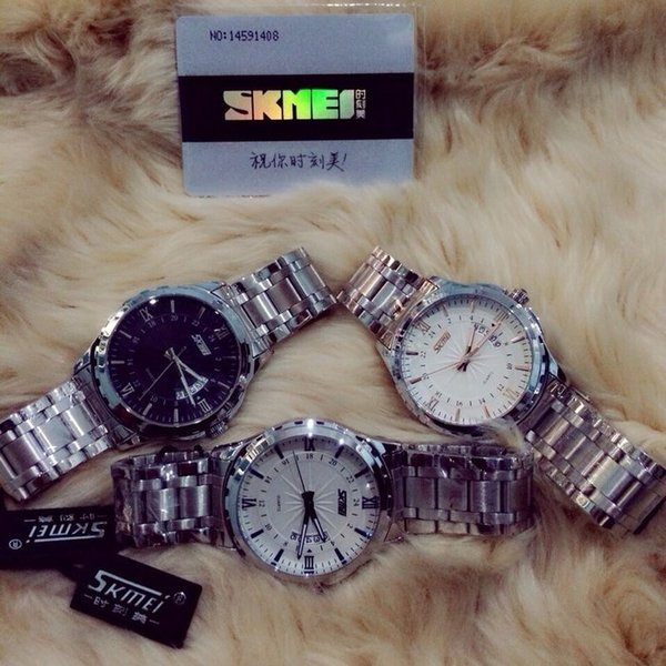 Ready Stock Jam Tangan Analog Pria Rantai Citizen Skmei Escape Putih Emas Ready Stock