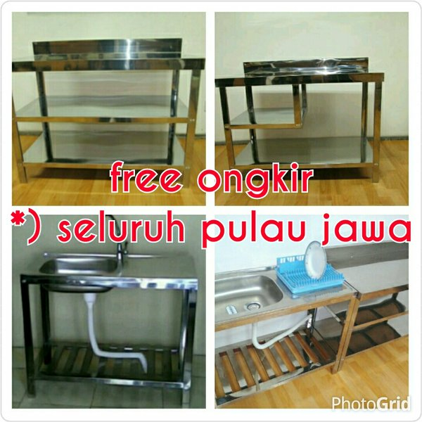 Kitchen Set Stainless (2 meja + bak cuci piring plus kran air)