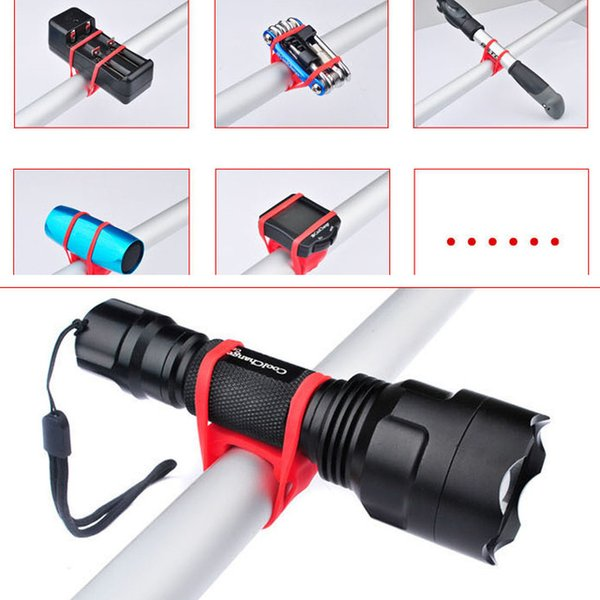 Silicone Strap Bike Bracket Mount Bike silicon Holder Flashlight Holder Senter Laser Lampu Smartphone Sepeda