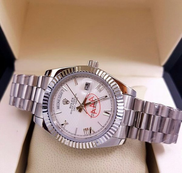 JAM ROLEX OYSTER PERPETUAL DAY DATE SLVR WHT DIIAL SUPER CLONEE