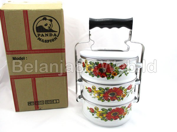 Food Carrier 3 layer - rantang enamel 3 susun Panda Maspion 14cm