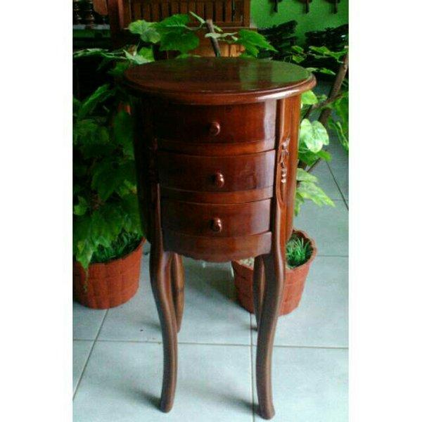 Meja sudut minimalis bentuk oval kayu jati