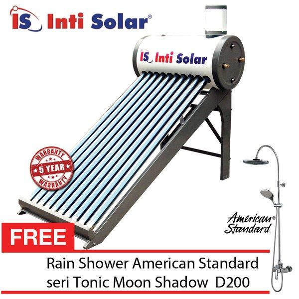 Intisolar Pemanas air tenaga surya matahari tanpa listrik kap 100 Liter untuk 2-5 orang  Gratis Rain Shower American Standard