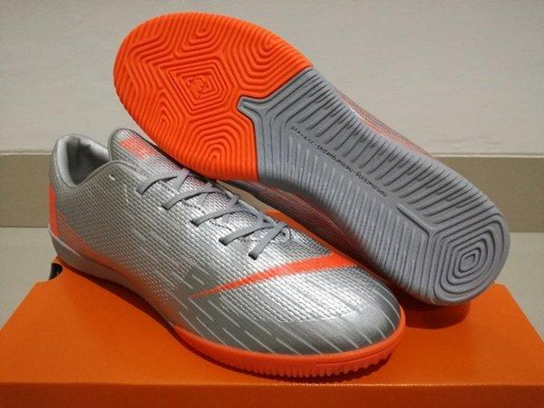 Sepatu Futsal Nike Mercurial Vapor XII Elite Silver Orange