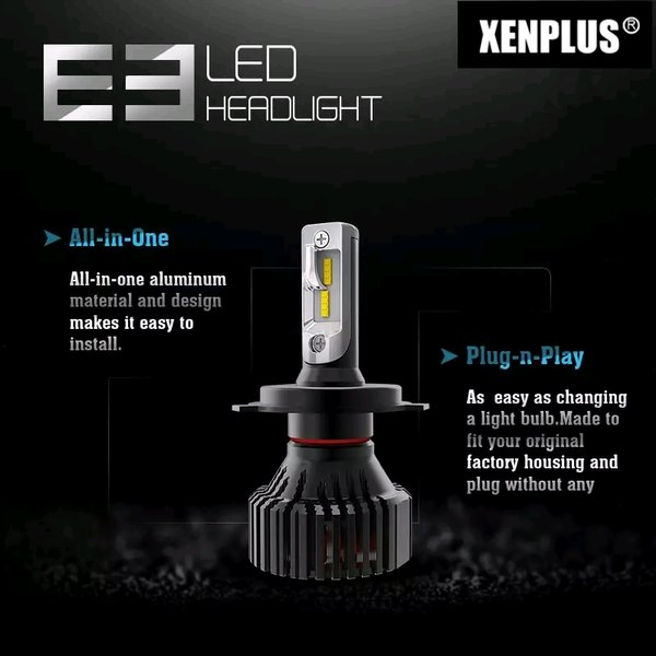 Headlamp LED E3 Toyota Agya Avanza Corolla Altis Crown Etios Hilux Kijang Innova Soluna Starlet Vios Yaris Headlight Head Lamp Light Lampu H4 HID