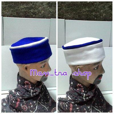 Peci lipat mesir bisa bolak-balik warna biru putih