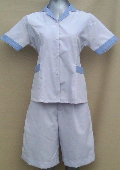 Baju Suster / Seragam Baby Sitter Celana Kulot Putih Variasi Kotak-Kotak Biru