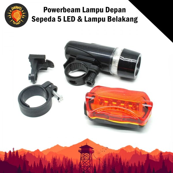 Powerbeam Lampu Senter Flashlight Depan Sepeda 5 LED & Lampu Belakang