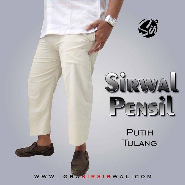 Celana Panjang Pria - Celana Sirwal Pensil - Sirwal Putih Tulang