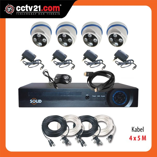 PROMO PAKET CCTV Taiwan SOLID 4 Ch AHD & DVR FULL HD 1080P 5in 1 Made in Taiwan