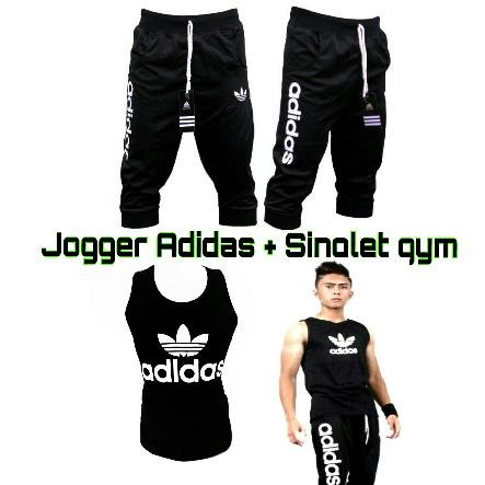 Promo !!! PAKET KAOS SINGLET Tanktop + CELANA JOGGER PANTS  ADIDAS NIKE UNDER ARMOUR Cowok For Gym Fitness Training Running Baselayer