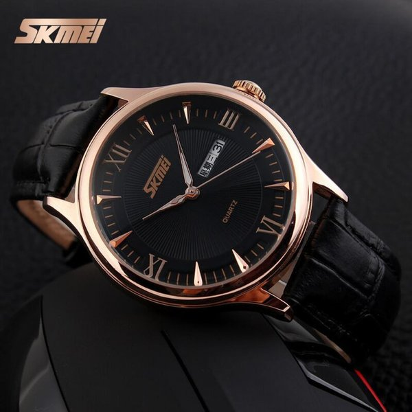 SKMEI 9091 Jam Tangan Pria Leather Analog Klasik - Black Gold