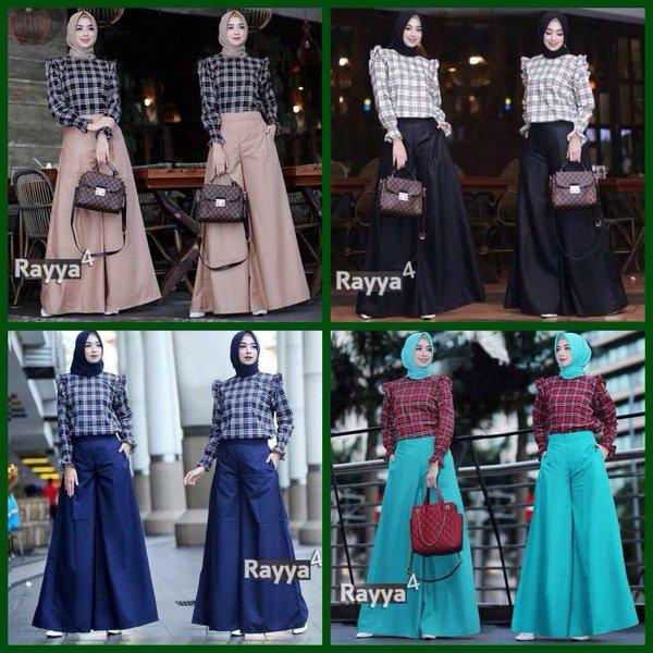 Baju Cewek Rayya Set 2in1 Atasan Blouse dan Celana Kulot GOOD QUALITY Setelan Busana Hijab Trendy Gamis Wanita Korea Terbaru Kekinian