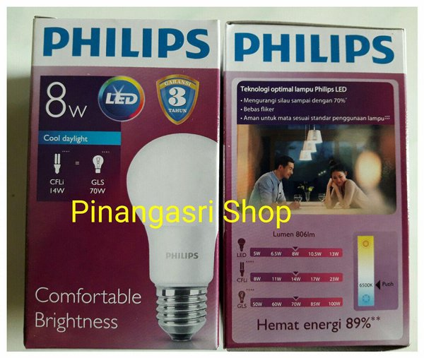 Lampu LED Philips 8 Watt 8W Philip 8 W 8Watt Putih GANTI 9 Watt 9W 9 W