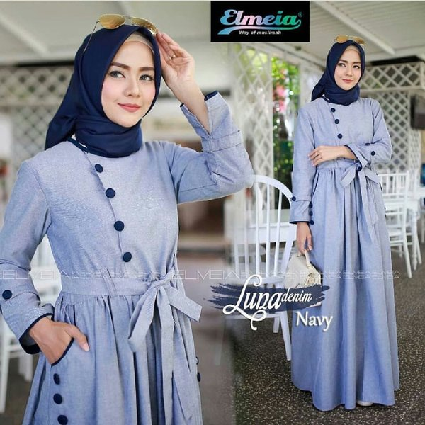 BARU DRESS MODEL BARU  BAJU PESTA WANITA  GAMIS FORMAL  LUNA DENIM MAXI