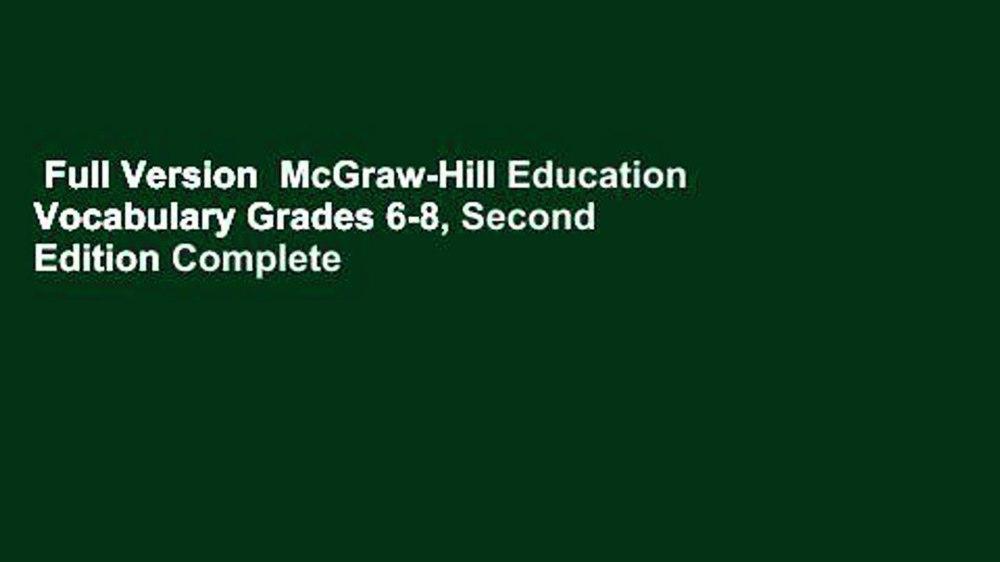 medium resolution of Full Version McGraw-Hill Education Vocabulary Grades 6-8