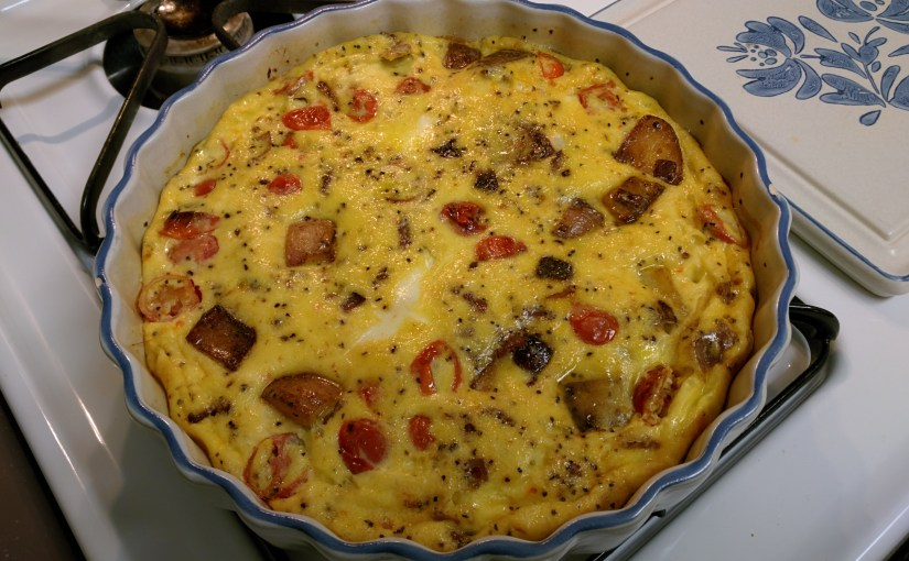 Bacon, potato, and tomato frittata